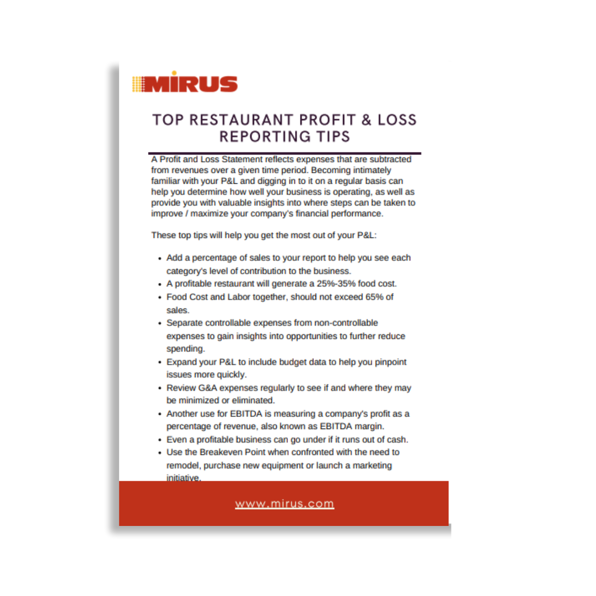 Restaurant Profit & Loss Tips Graphic